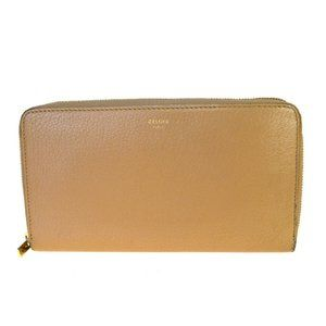 Celine Round Zipper Wallet Leather Wallet Beige